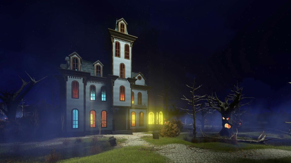 halloween scenery with spooky haunted mansion with lighted windows surrounded by fantastic creepy trees at dark misty night decorative 3d animation rendered in 4k bxvfgjq0 thumbnail full01