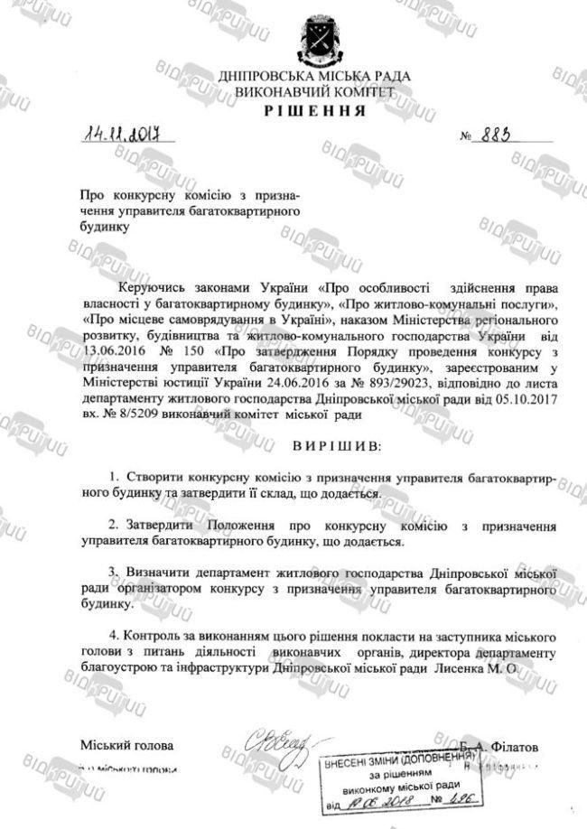 Reshenie ispolkoma o sozdanii komissii po upravitelyu