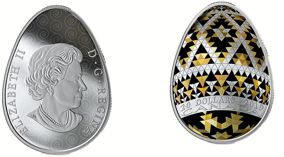 В Канаде выпустили монету в виде украинской писанки
