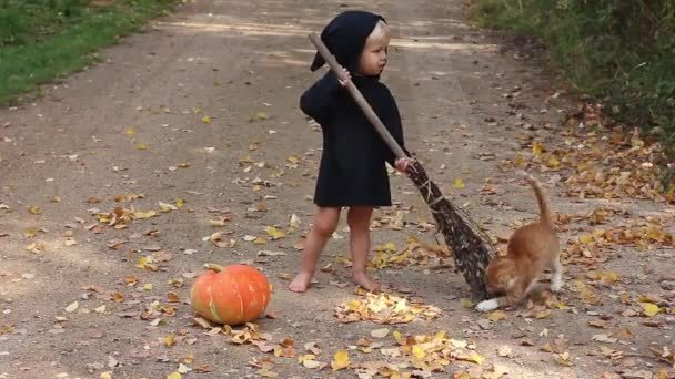 depositphotos 265058044 stock video child black sorcerer witch suit