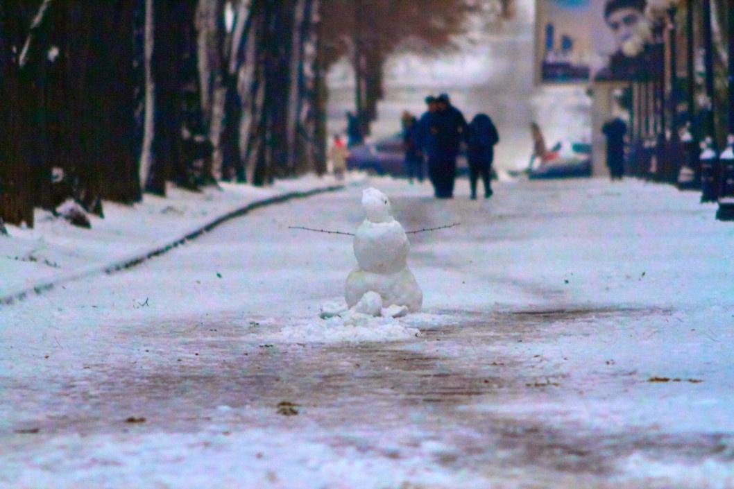 Первый снеговик в Днепре, декабрь 2019 года.