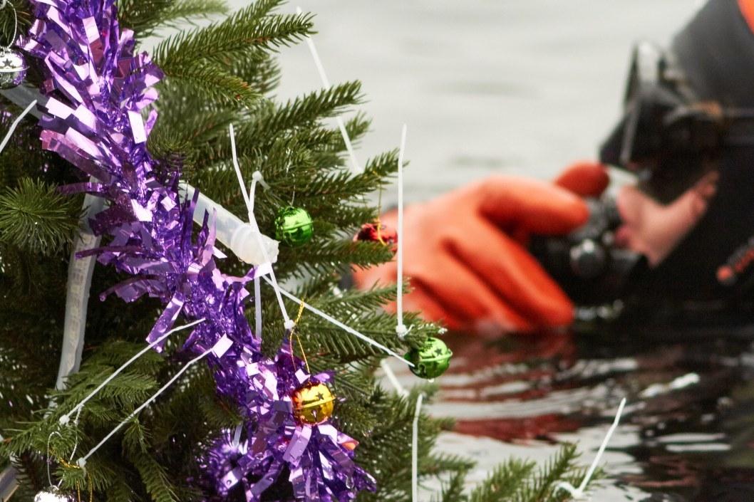 Дайверы в шапках Сант украсили озеро днепровского карьера к Новому году (ФОТОРЕПОРТАЖ)