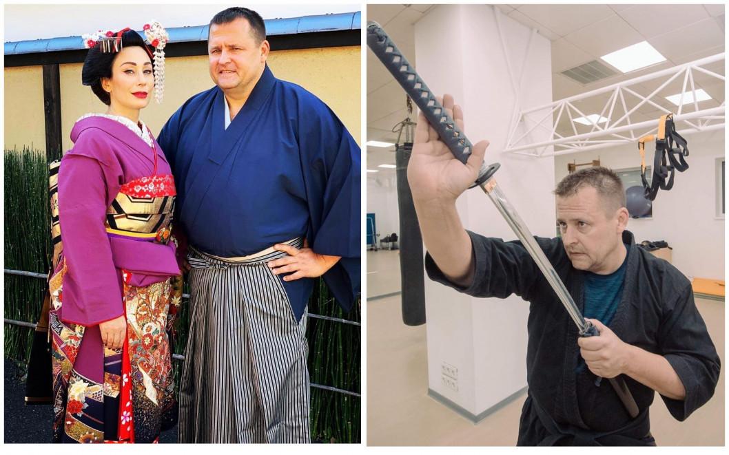 Борис Филатов с супругой в японских костюмах.