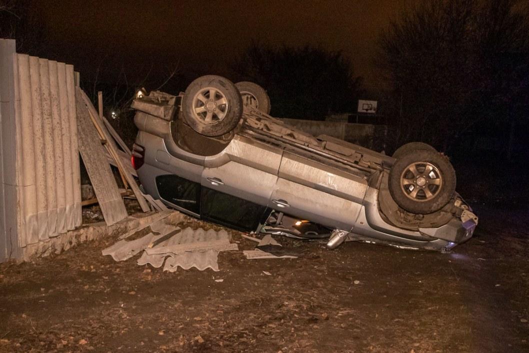 При резком маневре из-за собаки на дорого водитель потерял управление