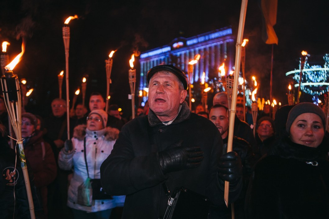 В центре Днепра прошел марш в честь Бандеры (ФОТО)