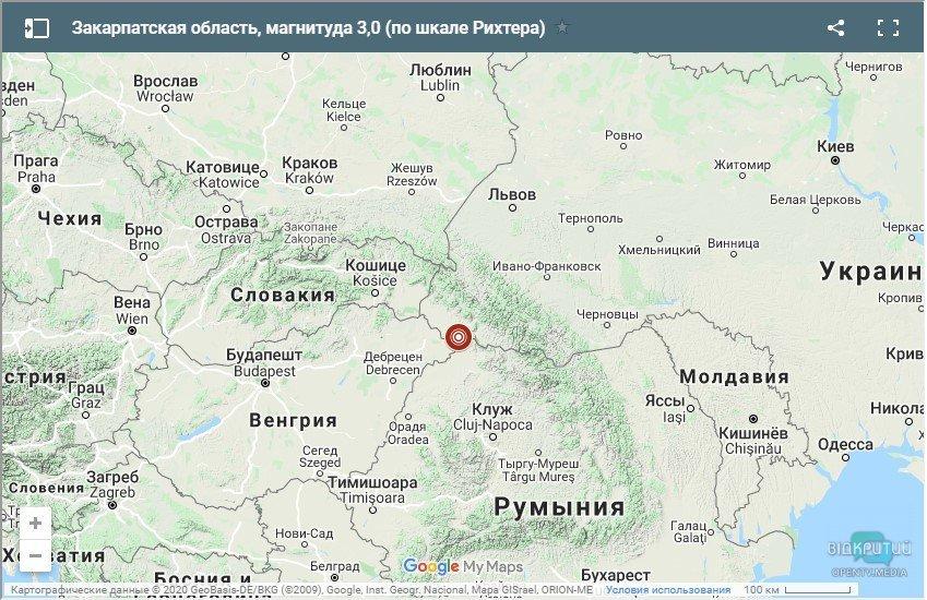 Эпицентр толчков на карте Украины.