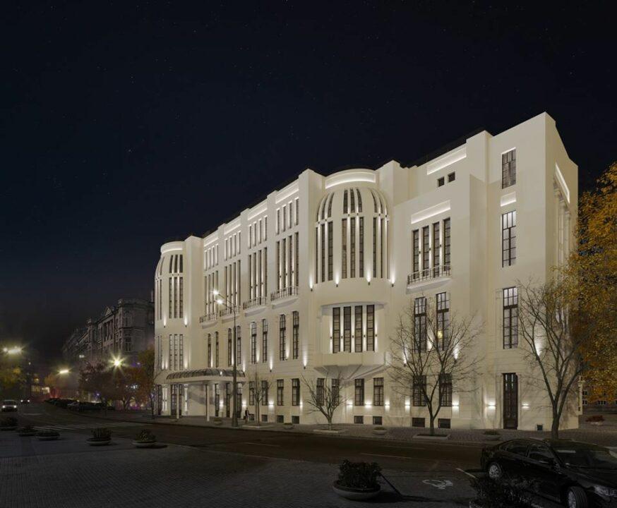 Ночная подсветка фасада обновленной филармонии.