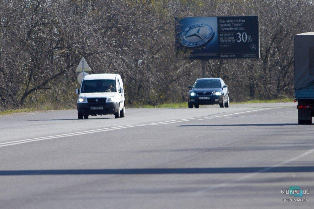 Автомобильный трафик на Запорожском шоссе оживленный