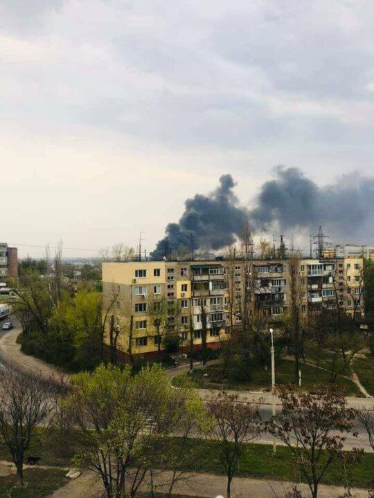 Пожар на левом берегу в Днепре