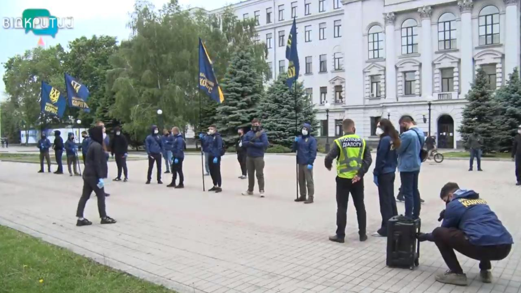В Днепре Нацкорпус вышел на митинг против Ермака возле ОГА