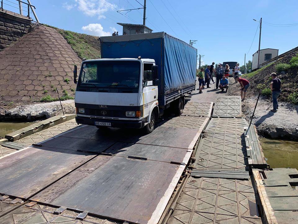 Под Никополем вновь обрушился понтонный мост (ФОТО)