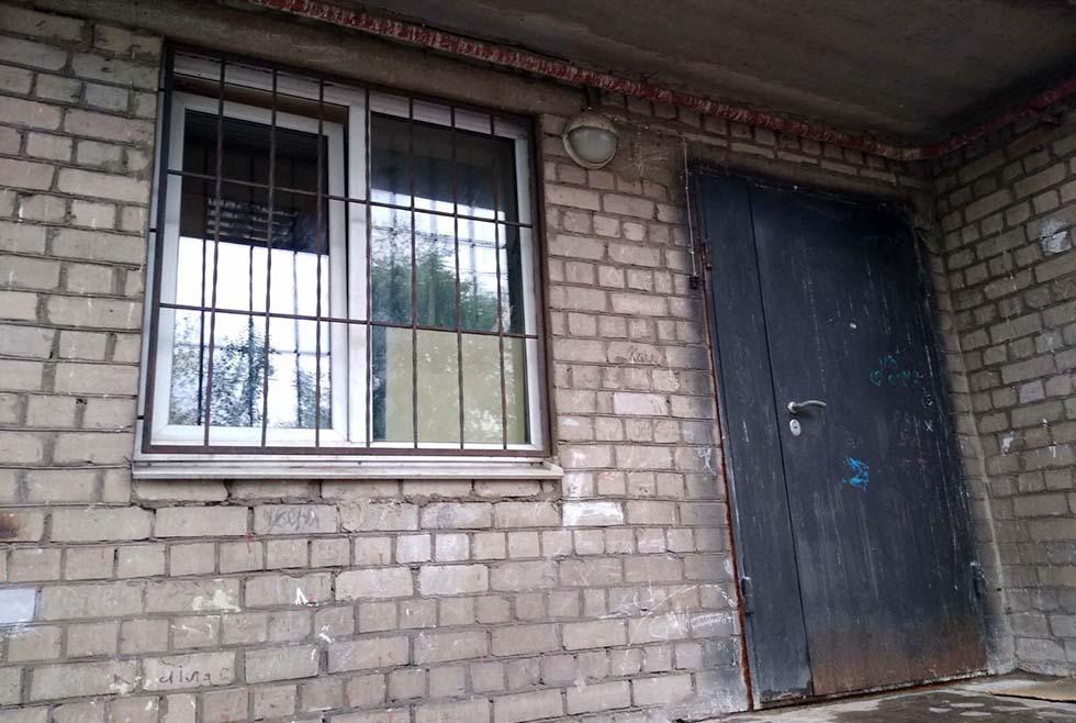 В Днепре пушистик застрял между прутьями оконной решетки