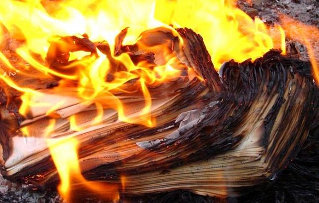 В Днепре вандалы украли книги из библиотеки и сожгли на костре