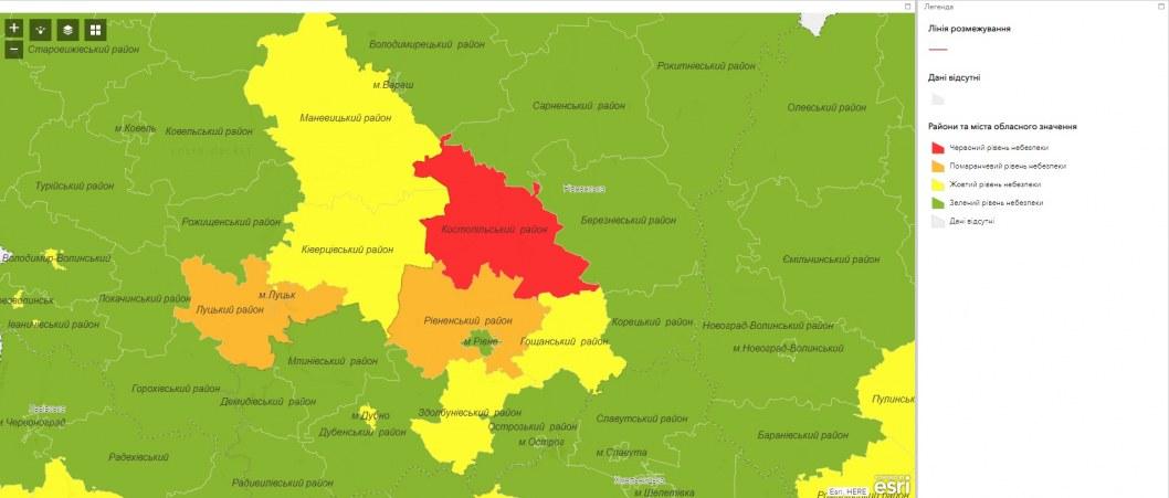 Карантинные зоны Украины