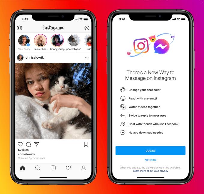 Вместо Instagram Direct — Messenger: компания Facebook объединила чаты
