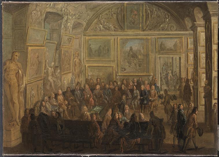 Martin Jean Baptiste   Une assemblee ordinaire de lAcademie royale de Peinture et de Sculpture au Louvre   RMN 16 532017