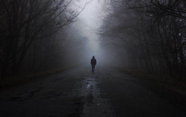 forest in fog the man is walking by the fog dark foggy forest with magic atmosphere 154293 3426